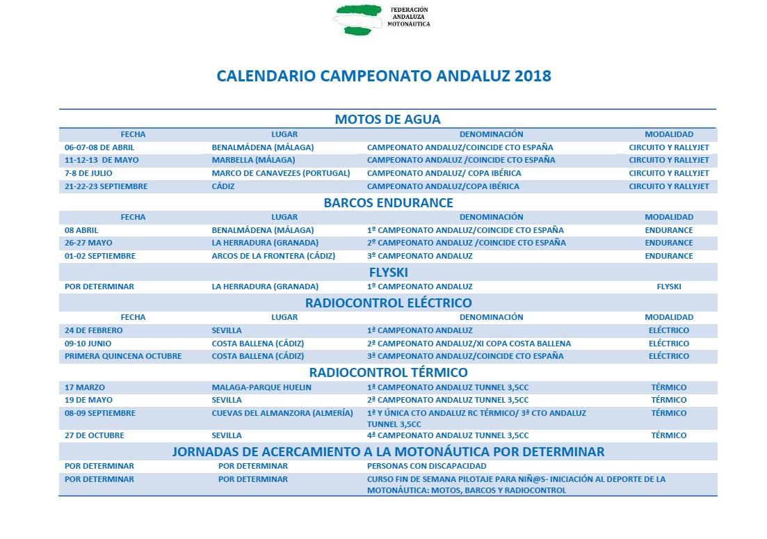 CALENDARIO CAMPEONATO ANDALUZ 2018