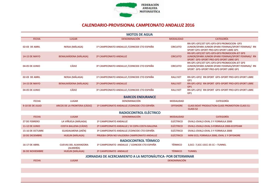 CALENDARIO PROVISIONAL CAMPEONATO ANDALUZ 2016