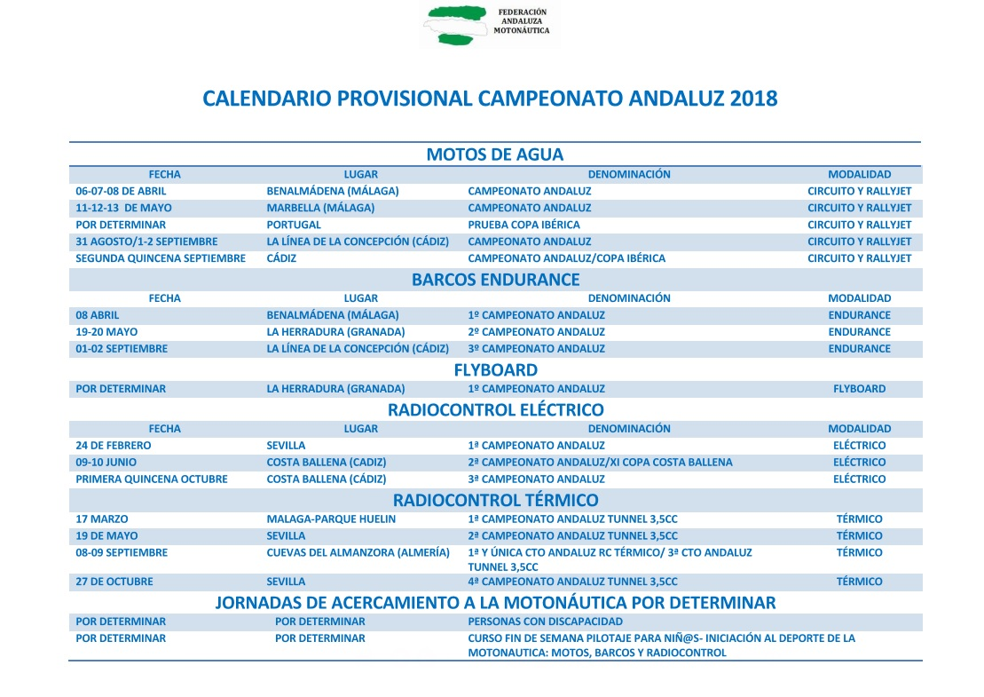 CALENDARIO PROVISIONAL CAMPEONATO ANDALUZ 2018